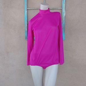 1970s Magenta Nylon Bodysuit Sz M-L